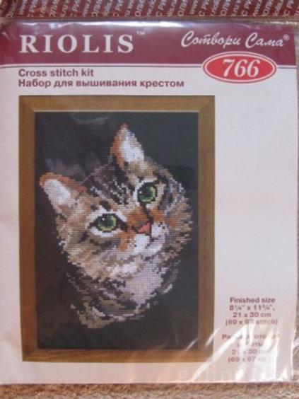 """Вышивка крестом """"Серая кошка"""" 766 размер готовой работы: 21х30см. Риолис"""