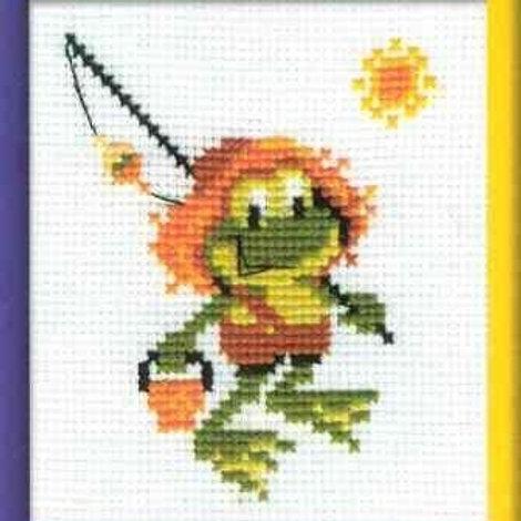 """Вышивка крестом """"Лягушонок рыболов"""", 322 Риолис, размер:13х16см"""