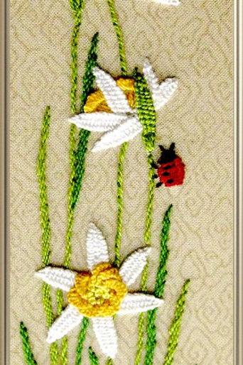 "Объёмная вышивка ирисом "" Нарциссы"", 3002 размер: 7х20 см"