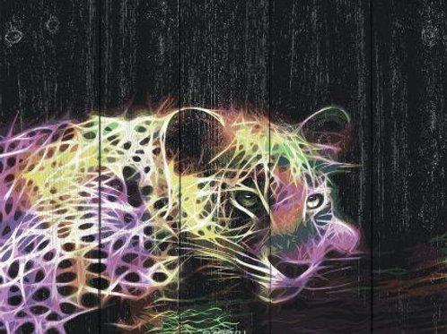 """Картины по номерам по дереву WН038 """"Неоновый леопард"""" 40х50 см"""