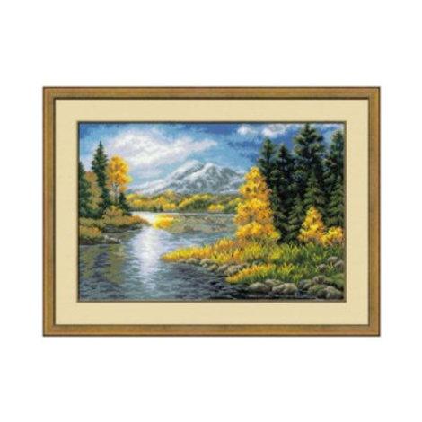 """Вышивка крестом 1235 """"Озеро в горах"""", размер работы: 60х40 см. Риолис"""