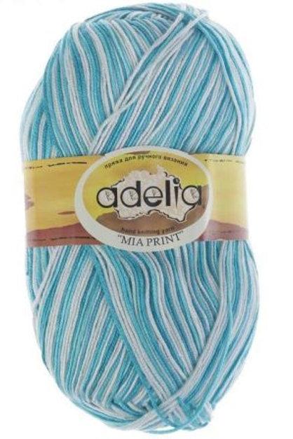 Adelia Mia print - 14 - белый, голубой 100г/307м