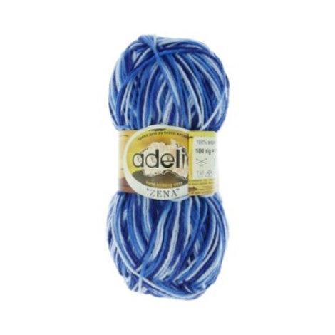 Adelia ZENA №81 св.голубой т.голубой синий. 100г/308м 100% акрил