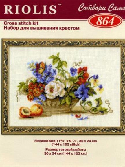 """Вышивка крестом """"Натюрморт с персиками"""", 864 размер:30х24см, Риолис"""