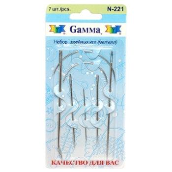 """Иглы для шитья ручные """"Gamma"""" для шитья N-221 в блистере 7 шт. с матрасными игла"""