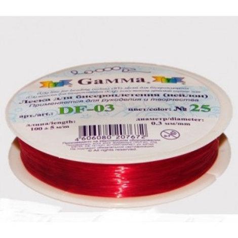 """Леска для бисероплетения (нейлон). Цвет: № 25 красный, D-0,3мм, """"Гамма"""""""