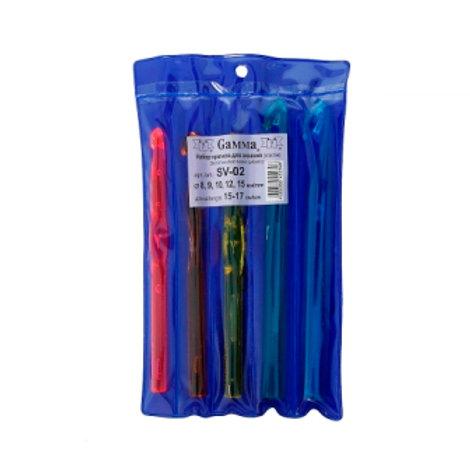 Набор крючков для вязания 8, 9, 10, 12, 15 мм, Gамма