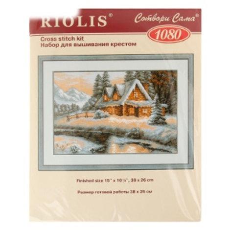 """Вышивка крестом """"Зимний пейзаж"""", 1080 размер готовой работы: 38х26 см. Риолис"""