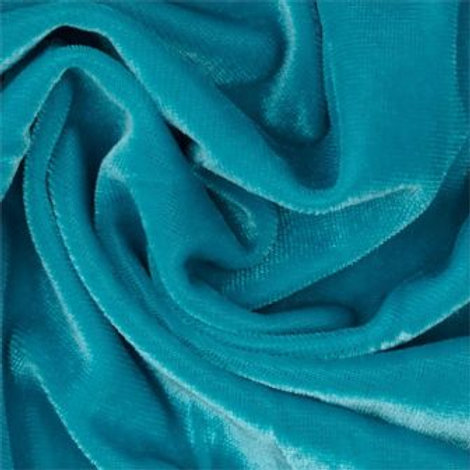 Ткань  Бархат стрейч блузочный. Цвет: бирюзовый, ширина: 1,55 м