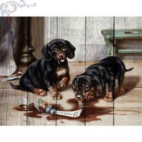 "Картины по номерам по дереву WН004 ""Два щенка"" 40х50 см"