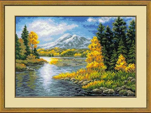 """Вышивка крестом """"Озеро в горах"""", 1235"""