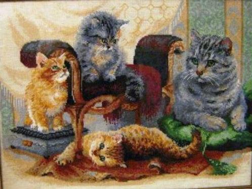 """Вышивка крестом """"Кошачье семейство"""", 1327"""