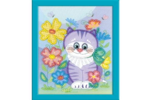 """Частичная вышивка бисером """"Котик"""", 0060 РТ размер: 15х20см. Риолис"""