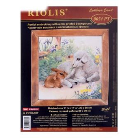 """Вышивка крестом """" Ягнёнок и кролик"""", 0051 РТ размер: 30х30см. Риолис"""