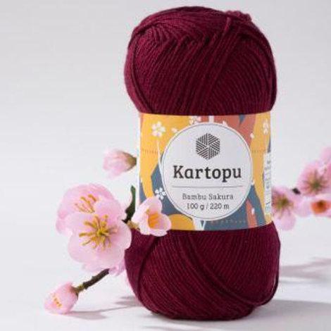 Kartopu Bambu Sakura-110-бордовый 100г/220м 49%бамбук 51% акрил Турция