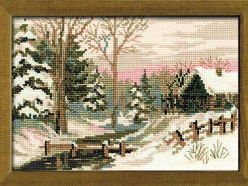 """Вышивка крестом """"Зимний пейзаж"""", 919 размер готовой работы: 21х15 см. Риолис"""