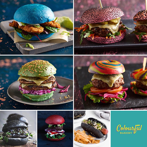 TCB002 Mixed Colourful Burger Bun Range x 14