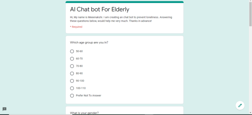 google form for elderly created on AIClub