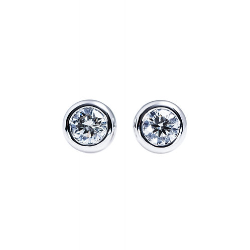 Bezel Setting Solitaire Earrings