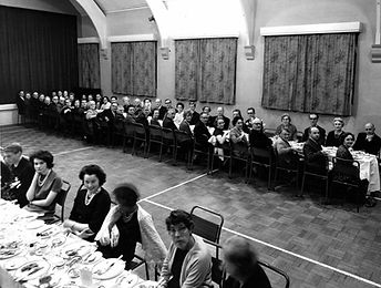 Stewardship Dinner 12 Nov 1963 in overflow in Trinity Hall