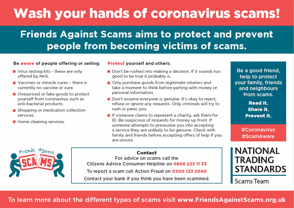 NAtionalTrading Standards advice on scams