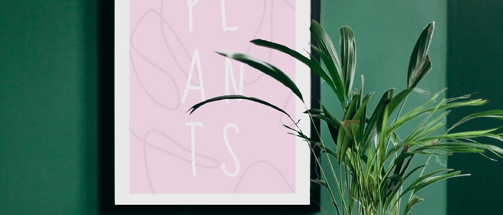 Plants Pink Print