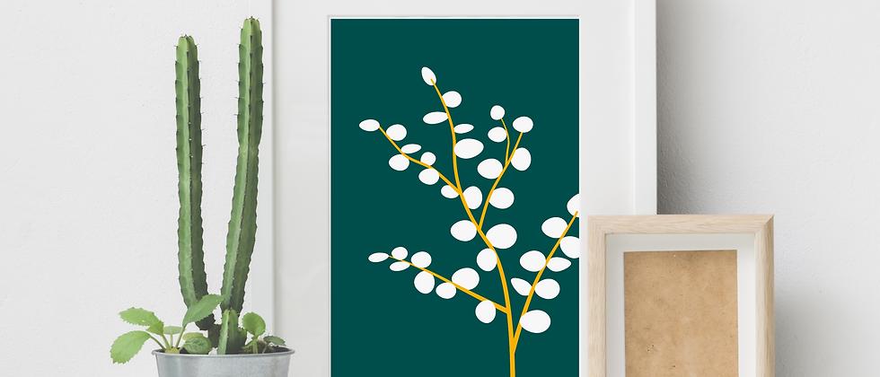 Leaves White Print