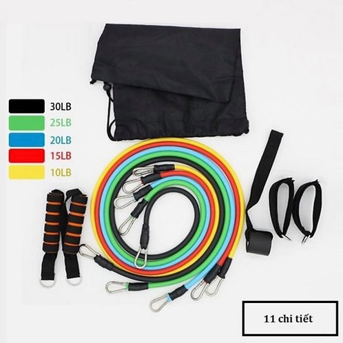 Dây đàn hồi tập Gym S2-11X, bộ dây tập thể lực 5 màu - Bộ 11 chi tiết, dây tập k