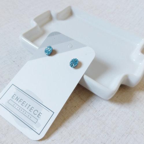 Brinco Zirconia Oval Azul
