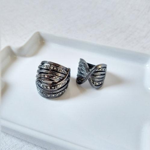 Dupla de Anéis Verônica Prata Onix