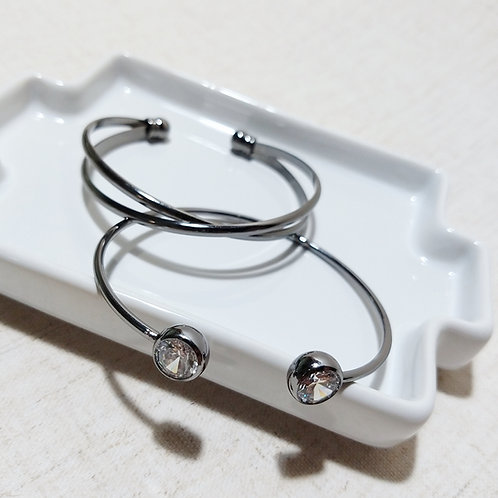 Conjunto Bracelete Prata Onix Strass