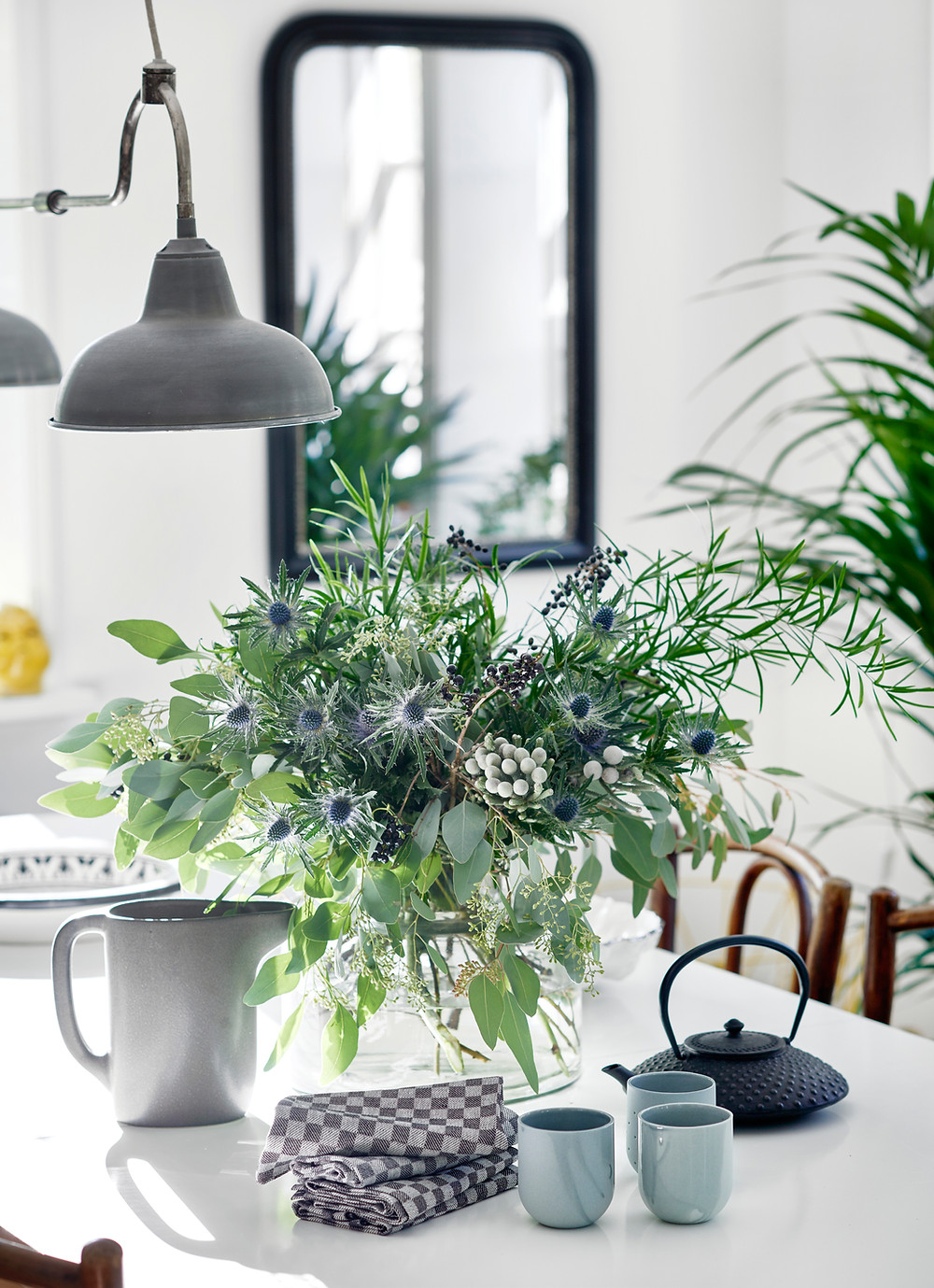 plants on a desk with a light