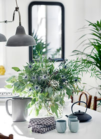 Stylist Table, Plants and lighting