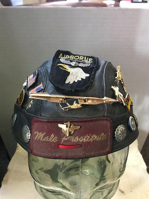 Leather Harley Davidson bandanna with pins