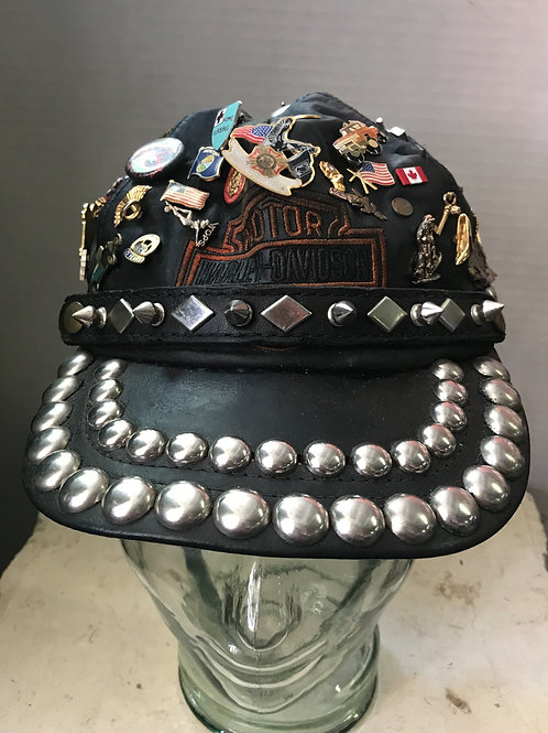 Leather Harley Davidson Hat With History
