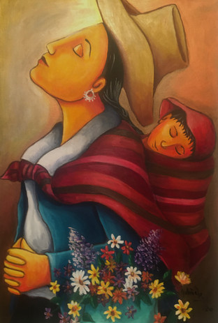 Flower Vendor with Baby