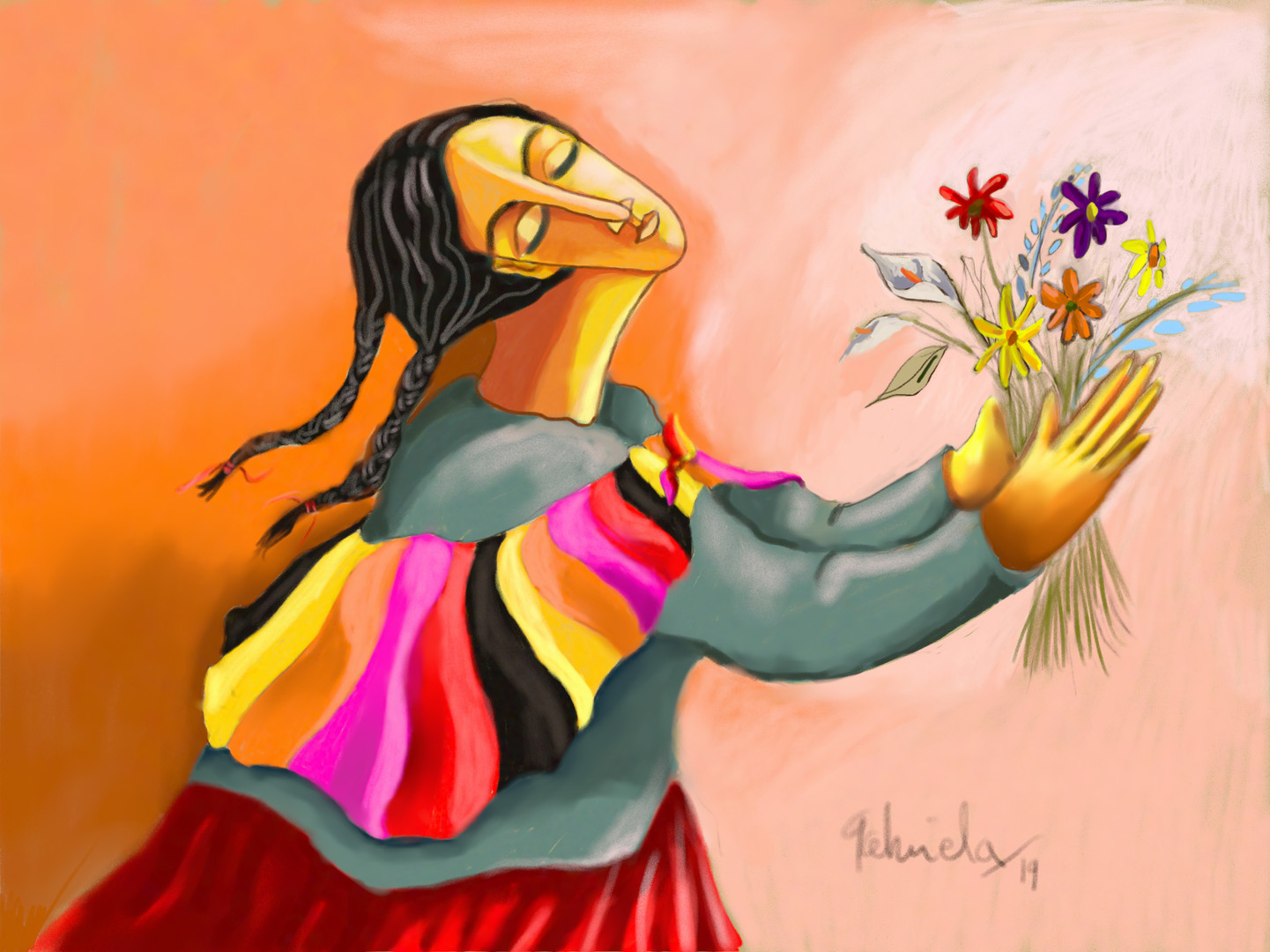 Woman Holding Flowers 1