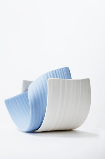 wheelthrown white and colored porcelain I oxidation