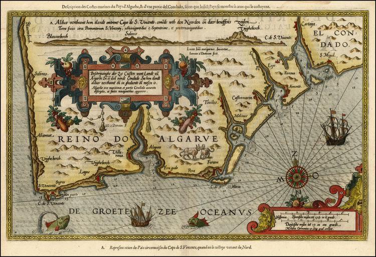Lucas Janzoon WAGHENAER. Mapa do Reino do Algarve. Antuérpia, 1584.