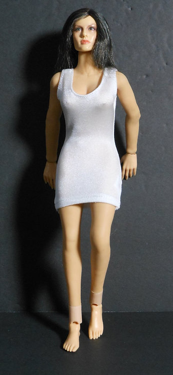 WHITE FORM FITTING DRESS FOR LARGE BUST FIGURE