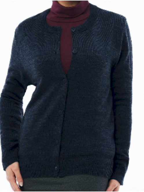Ladies Crew Neck Long Sleeve Cardigan