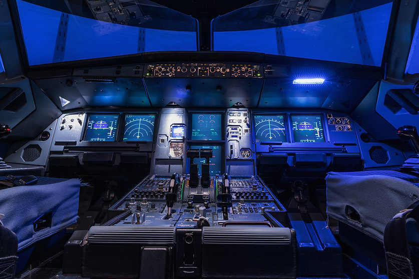A view of the cockpit of a large commerc