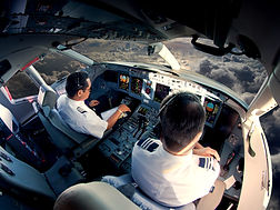 Flight Deck of modern passenger jet airc