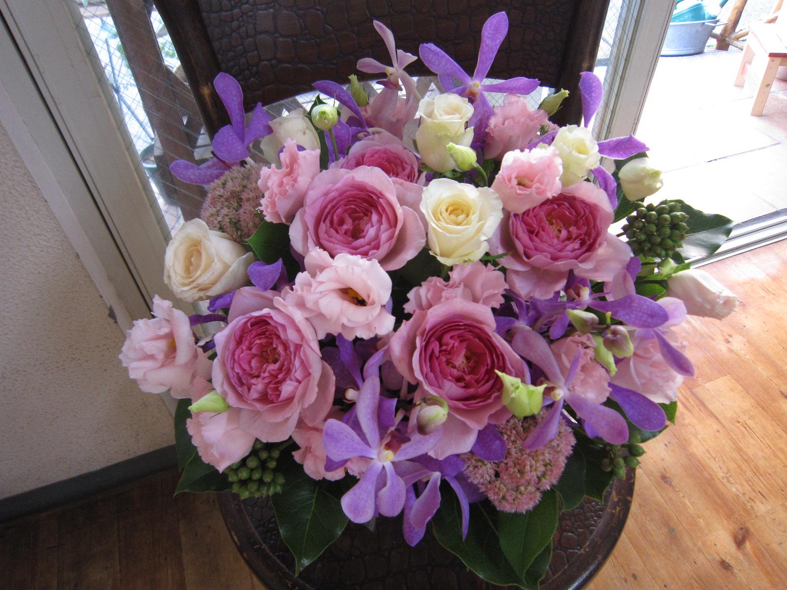 紫 ピンク系アレンジメント