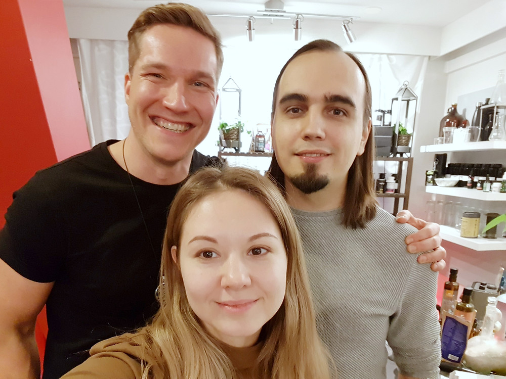 Olli Sovijärvi, Tatyana Parfenova, Eugene Pustoshkin at the Biohacker Center (Helsinki, Finland)
