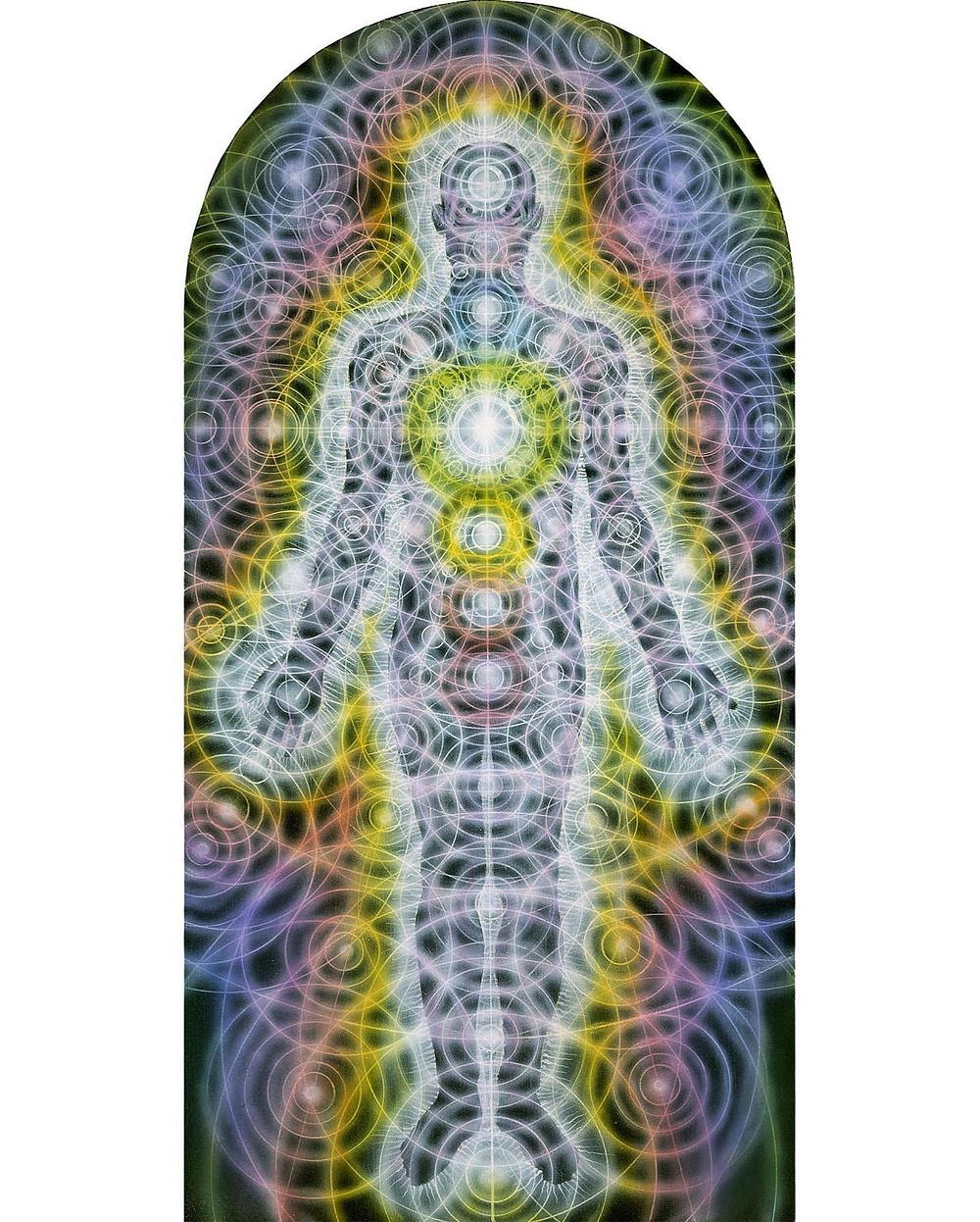 Алекс Грей, «Тело-разум как вибрационное поле» (Body Mind as a Vibratory Field, 1987), 20 × 40 см, акрилловая краска на панели из дерева.