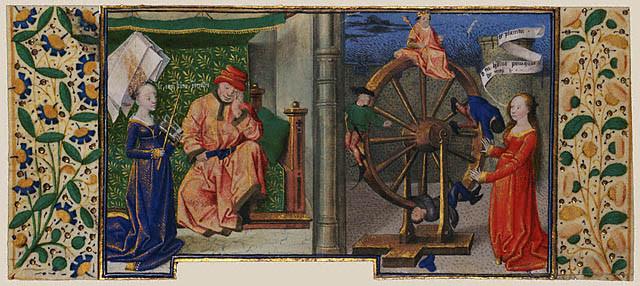 Философия рассказывает Боэцию про колесо Фортуны (1460–70)