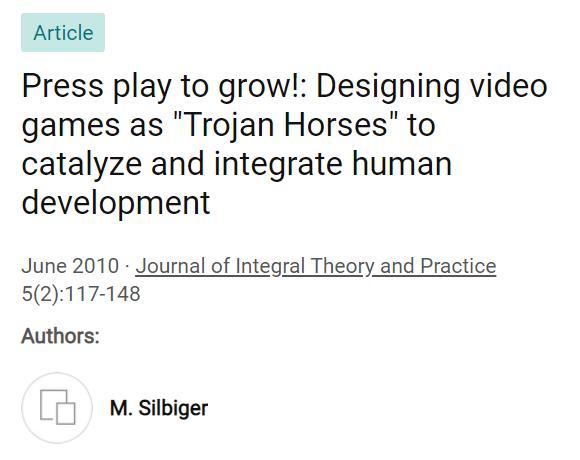 Работа Мозеса Силбигера, посвящённая интегральному подходу к видеоиграм
