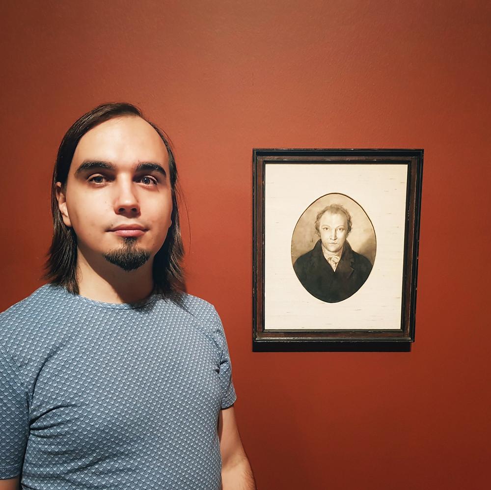 Евгений Пустошкин на выставке работ Уильяма Блейка в Tate Britain (Лондон, октябрь 2019)