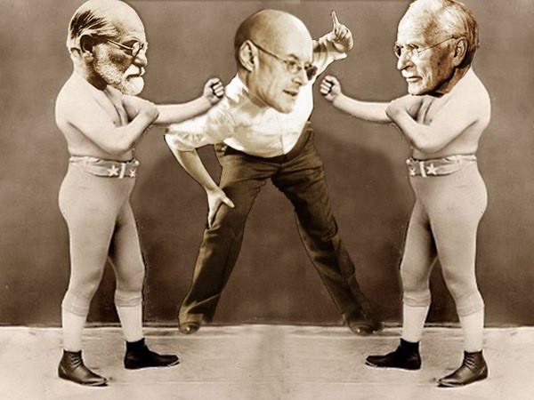 Зигмунд Фрейд против Карла Юнга, рефери — Кен Уилбер. Иллюстрация © Integral Life